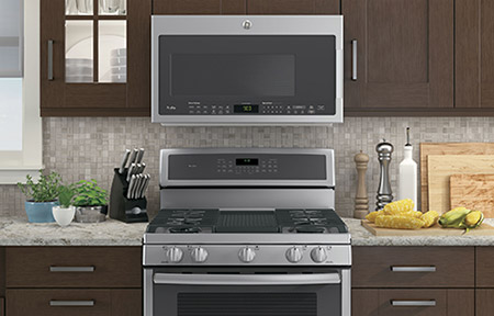 GE Appliances stainless steel ranges.