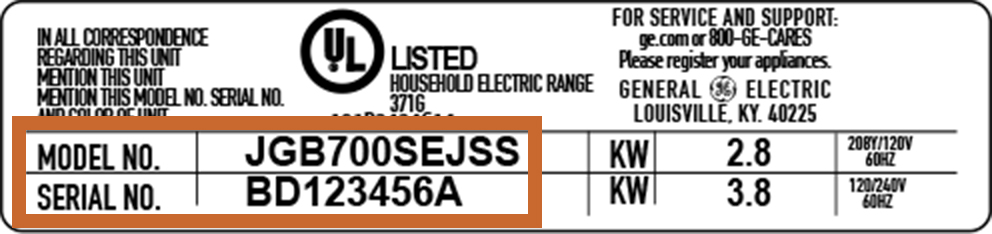 Model/Serial Number tag example
