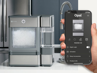 Smart Phone showing GE Profile Opal Nugget Ice Maker Bluetooth equipped companion app.