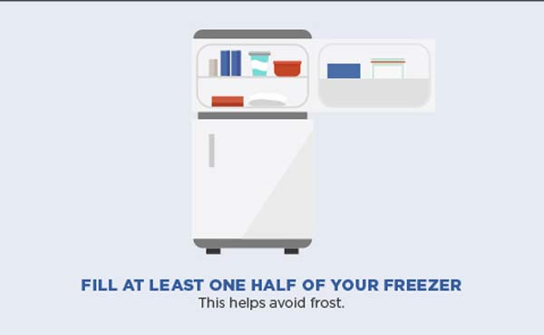 Fill at least one half of your freezer. This helps avoid frost.