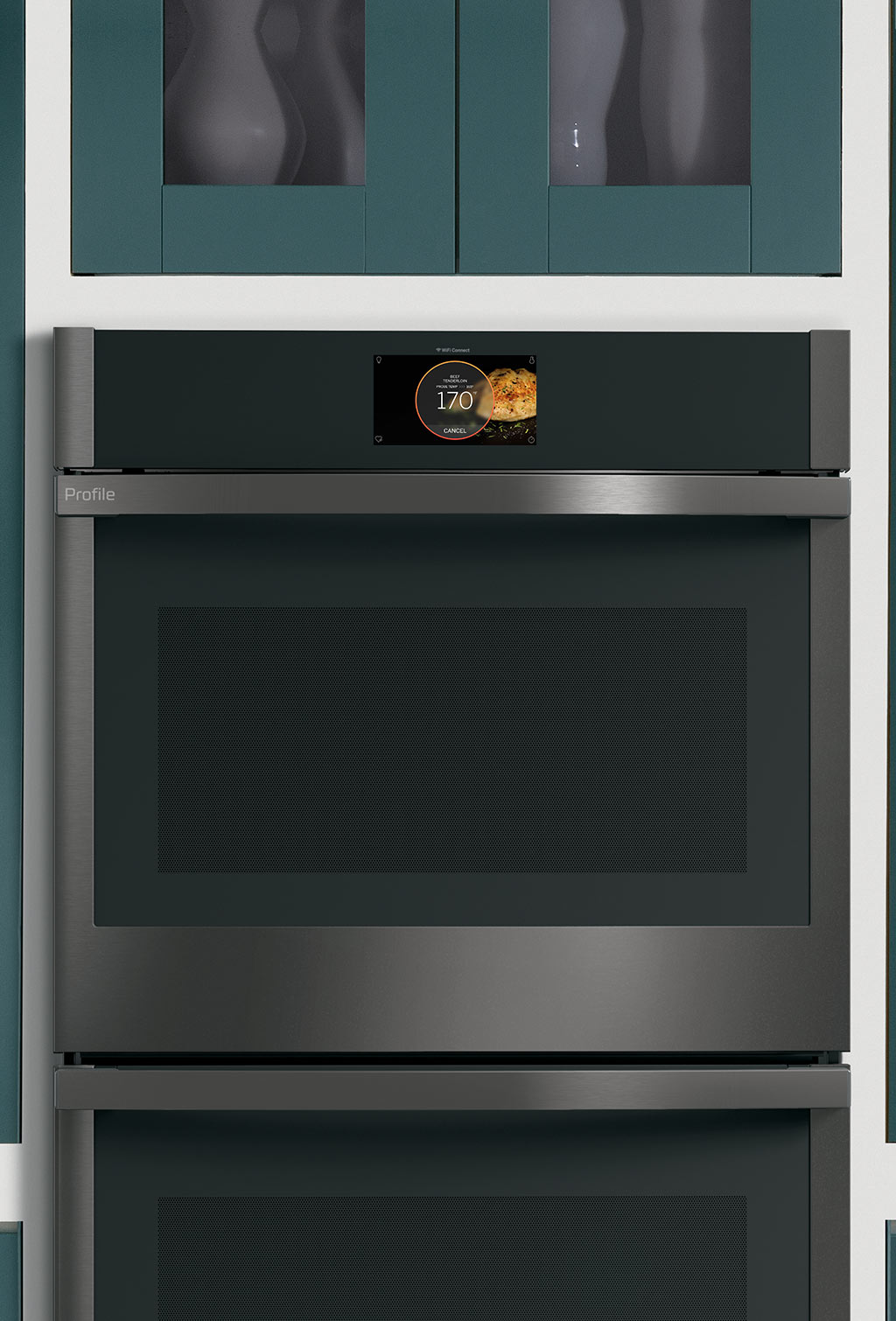GE Profile Double Wall Oven with Green Cabinets