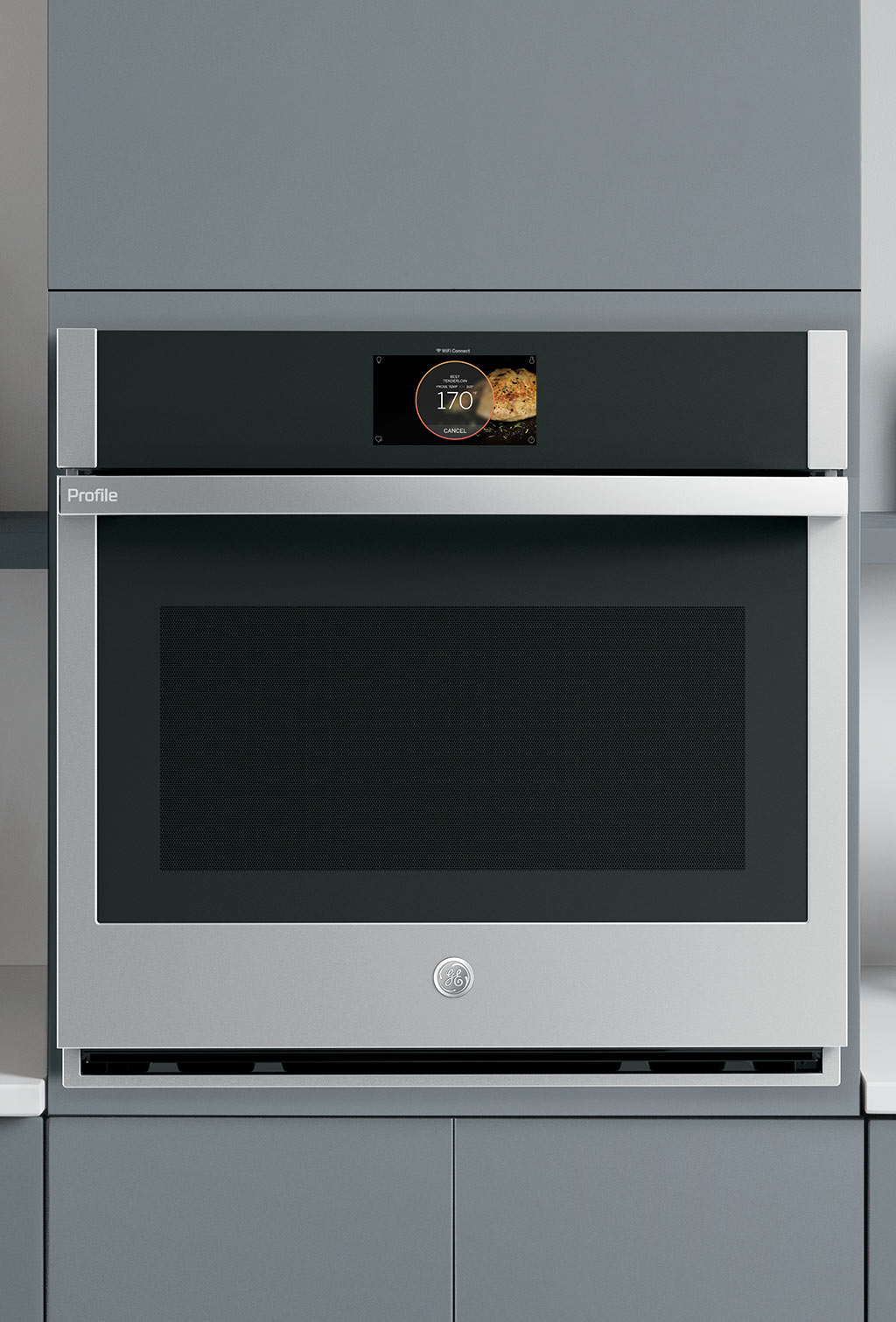GE Profile Single Wall Oven with Gray Cabinets