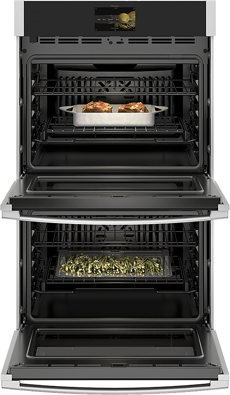 Double Wall Oven with Precision Cooking — Doors Open